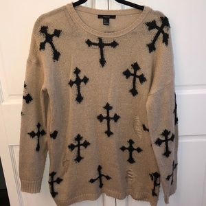 FOREVER 21 distressed cross tunic sweater M